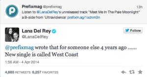Lana Del Rey West Coast twitter