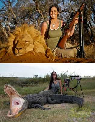 questa cacciatrice con un leone e un coccodrillo morto