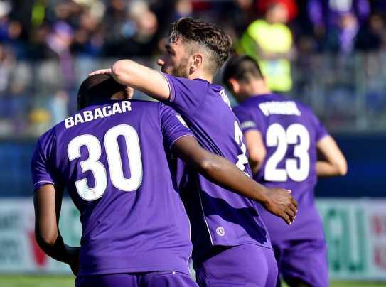 Pagelle Fiorentina Frosinone 4 1 - in questa foto Babacar e Gonzalo Rodriguez