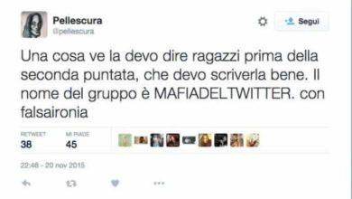 Lo screen Mafia Del Twitter dell'utente Pellescura