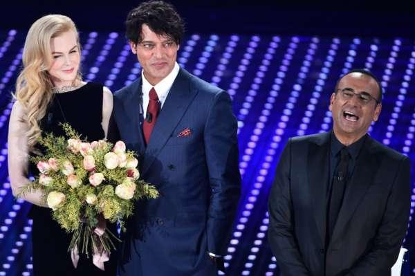 Sanremo 2016 2 serata - Nicole Kidman, Gabriel Garko e Carlo Conti.