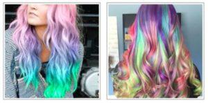 Tendenza dei capelli unicorno - Rainbow Highlighter