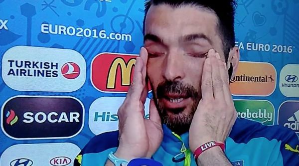 lacrime buffon euro 2016 italia germania