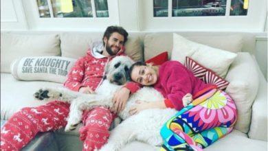 Miley Cyrus e Liam Hemsworth col cane Dora.