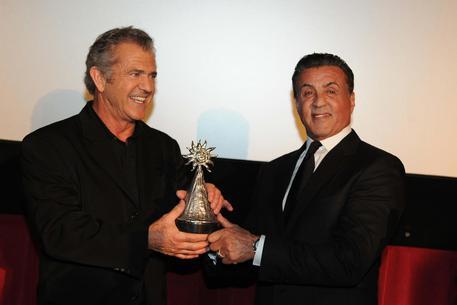 Mel Gibson film in Italia. Qui in foto con Sylvester Stallone.