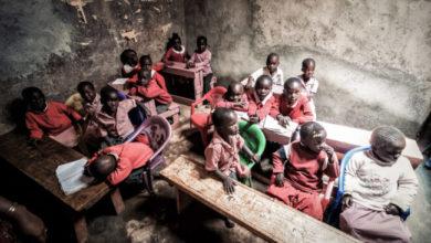 una scuola povera in Africa.