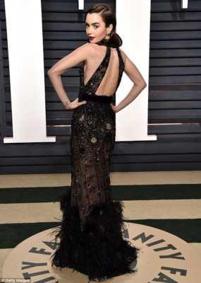 Lily Collins look vintage Vanity Fair After Oscar Party