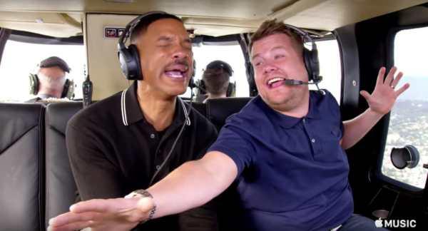 Willy Smith e James Corden nel Carpool Karaoke 2017.