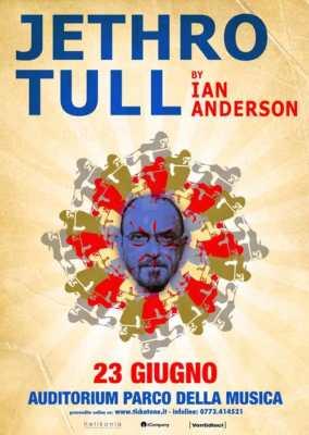 Locandina dell'evento di Ian Anderson dei Jethro Tull a Roma il 23 giugno 2017.