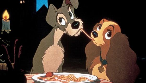 Lilli e il vagabondo scena spaghetti - coppie più belle della storia del cinema