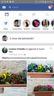Facebook Stories schermata.