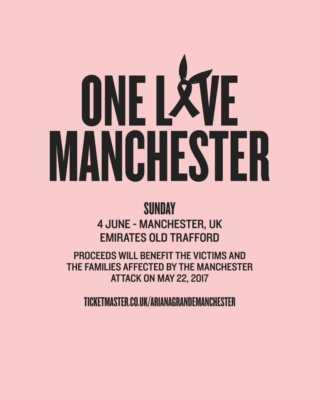 Concerto benefico a Manchester il 4 giugno 2017