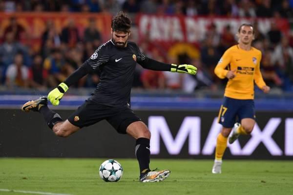 Alisson durante Roma-Atletico Madrid del 12 settembre 2017. Credits Roma.
