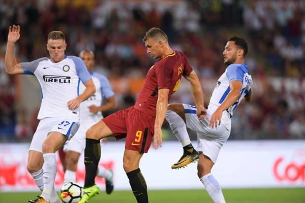 Dzeko in azione durante Roma-Inter del 26 agosto 2017. Credits Roma.
