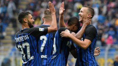 Calciatori Inter esultano dopo un goal durante Inter-Spal del 10 settembre scorso.