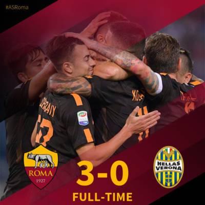 Trionfo della Roma contro il Verona: 3-0 casalingo ai danni dei gialloblù. Credits Roma.