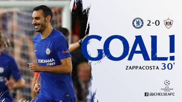 Zappacosta esulta dopo il goal al Qarabag. Foto del 12 settembre 2017. Credits Chelsea.