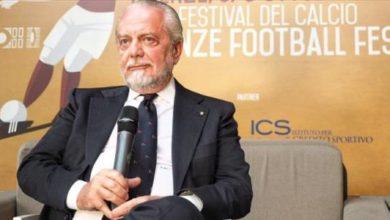 Il presidente del Napoli, Aurelio De Laurentiis, durante il Festival del Calcio tenutosi a Firenze.