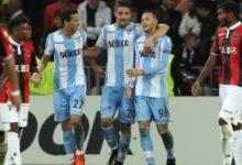 Milinkovic-Savic esulta dopo la doppietta rifilata al Nizza, in Europa League, il 19 ottobre.