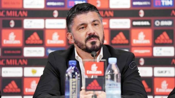 Gennaro Gattuso durante la presentazione alla stampa nelle vesti di nuovo allenatore del Milan.