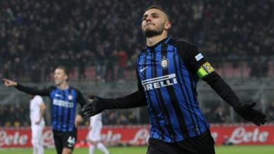 Mauro Icardi esulta dopo la doppietta realizzata contro l'Atalanta,lo scorso 19 novembre.