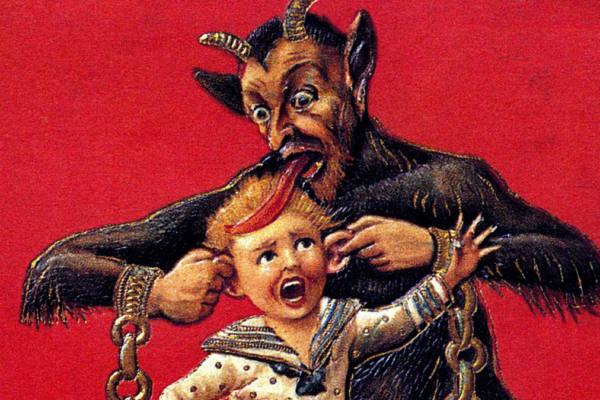 immagine del Krampus mentre mangia un bambino