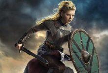 Katheryn Winnick nei panni di Laghertha nella serie Vikings