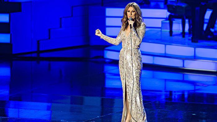 Immagine di Celine Dion durante il concerto a Las Vegas 2018