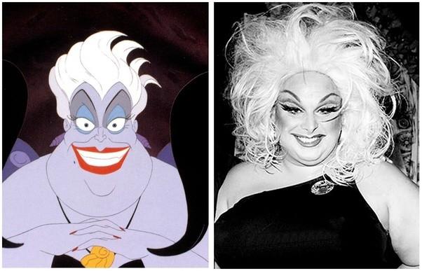 Un'immagine che compara le fattezze di Ursula e Divine