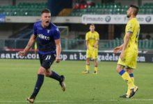 Milinkovic Savic esulta dopo il gol messo a segno nel match d'andata contro il Chievo.