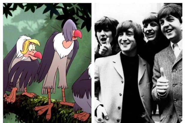 Immagine dei Beatles e degli avvoltoi del Libro della Giungla