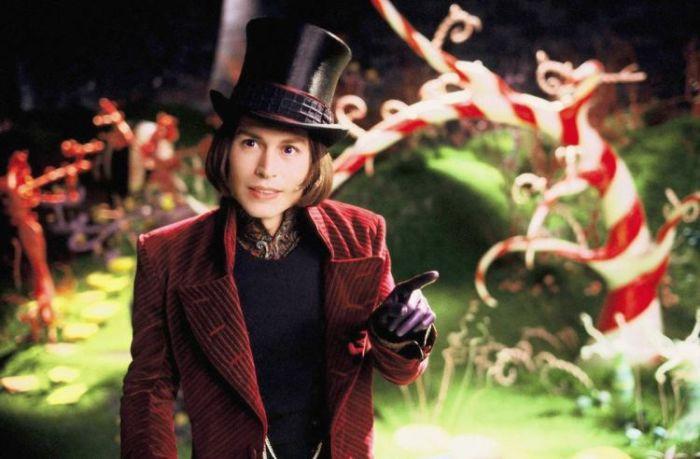 Johnny Depp nei panni di Willy Wonka