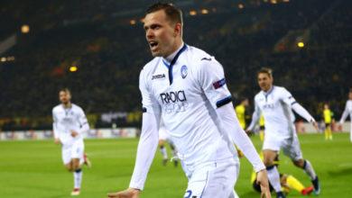 Ilicic esulta dopo la doppietta siglata contro il Borussia Dortmund, il 15 febbraio.