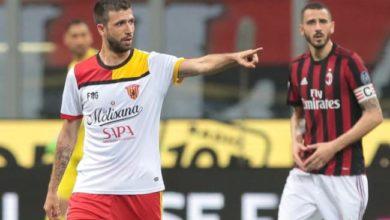 Iemmello autore del gol partita che ha permesso al Benevento di battere il Milan, il 21 aprile