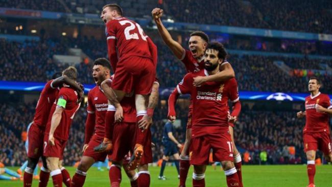 Salah esulta dopo la rete realizzata nella gara di ritorno dei quarti di finale di Champions League contro il Manchester City, il 10 aprile