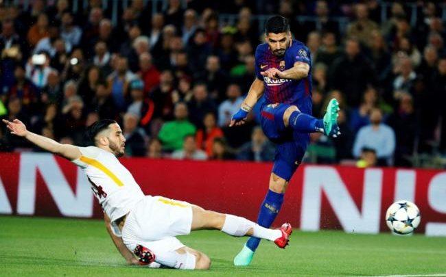Suarez in gol in occasione del 4-1 del Barca ai danni della Roma, il 4 aprile.