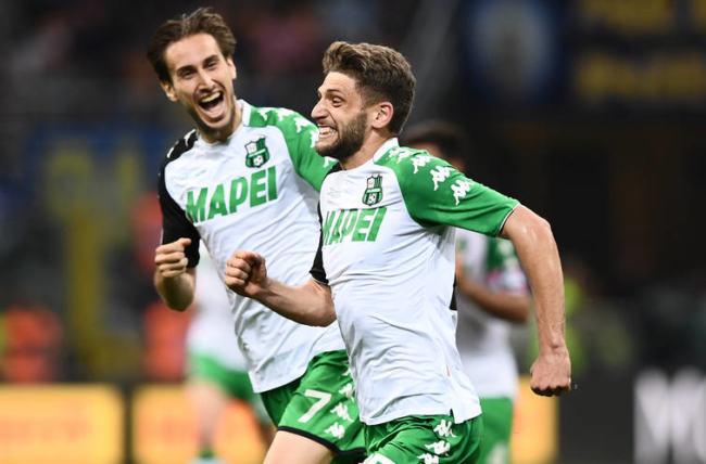 Berardi esulta dopo la rete messa a segno contro l'Inter, il 12 maggio