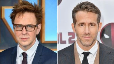 ryan reynolds e james gunn in foto