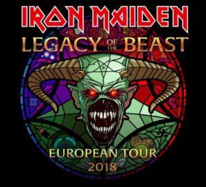 """concerti serate milanesi 9 15 luglio 2018 - foto flyer nuovo tour Iron Maiden """"Legady of the Beast"""""""