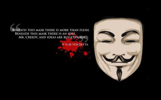 v per vendetta frase e maschera film