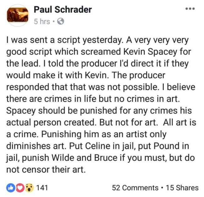 Tweet di Paul Schrader su Kevin Spacey