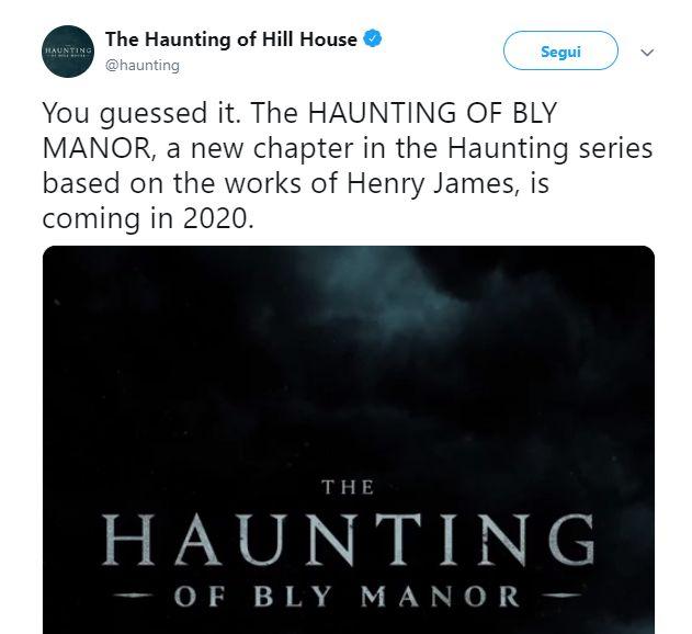 Tweet che annunci ala seconda stagione di The Haunting of Hill House