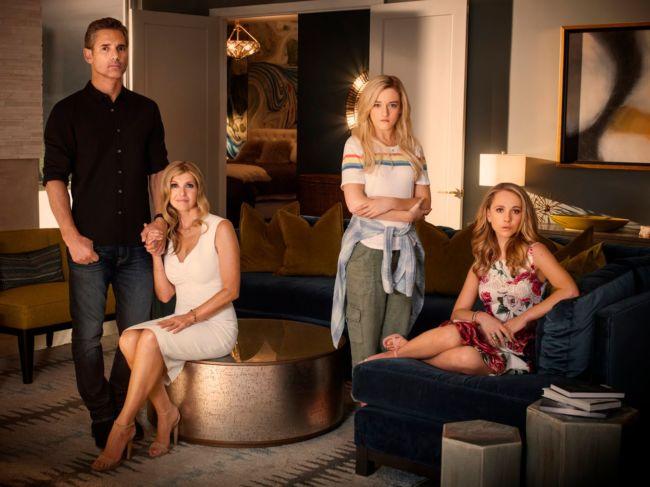Debra Newell, John Meehan e le due figlie di Debra: Terra e Veronica