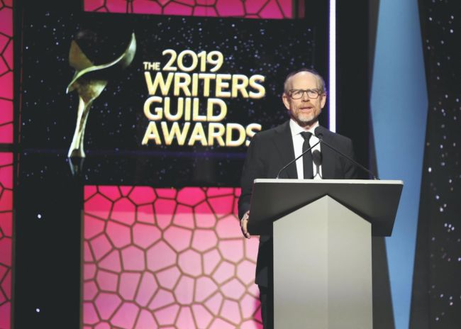 ron howard sul palco dei writers guild awards 2019