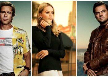 Brad Pitt, Margot Robbie e Leonardo DiCaprio