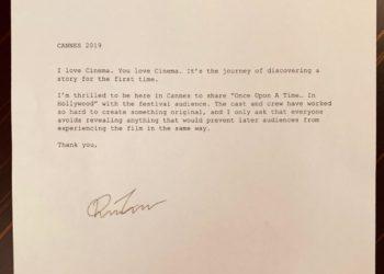 Quentin Tarantino lettera Festival Di Cannes 2019