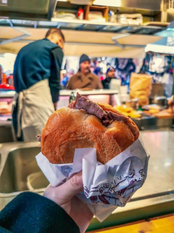 panino con il lampredotto dal trippaio del porcellino