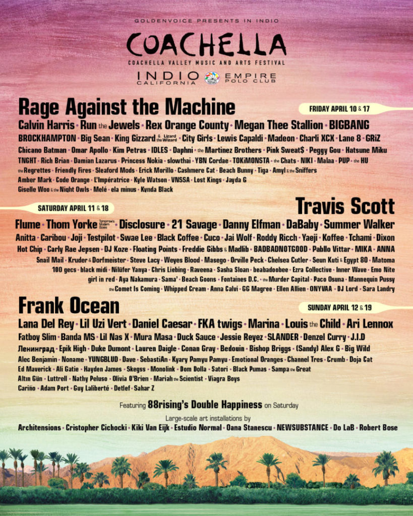 Artisti che si esibiranno al Coachella 2020