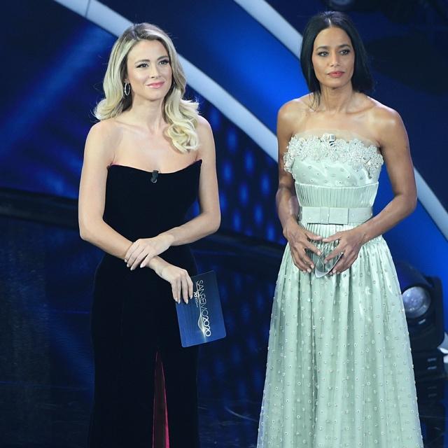 Diletta Leotta e Rula Jebreal nella prima puntata di Sanremo 2020