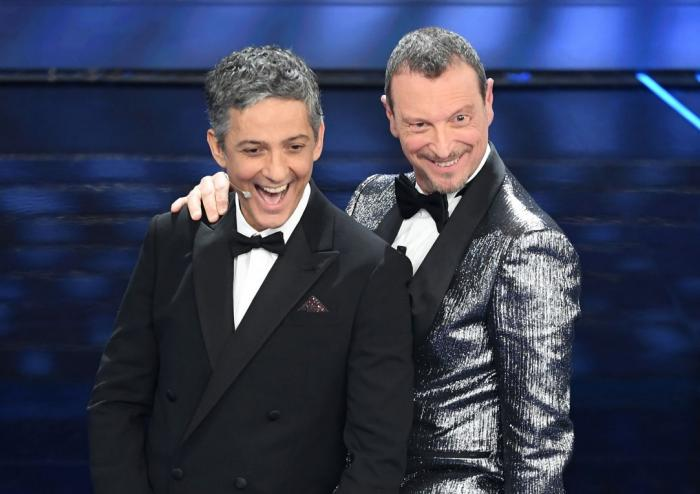 Fiorello e Amadeus nella prima puntata di Sanremo 2020